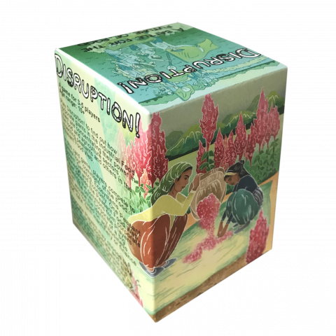 Box containing a card game with illustrations from the game