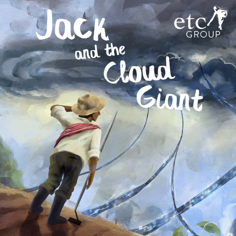The cover of the Jack and the Cloud Giant story showing a young peasant staring up at vines that look digital that are growing out of his farm