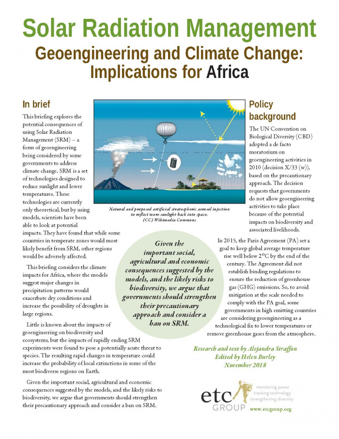 Solar Radiation Management - Impacts in Africa